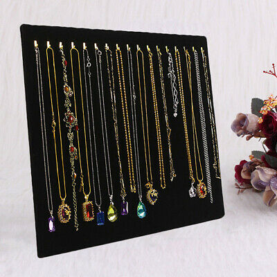 Velvet Necklace Chain Jewelry Display Holder Stand Easel Organizer Rack Black
