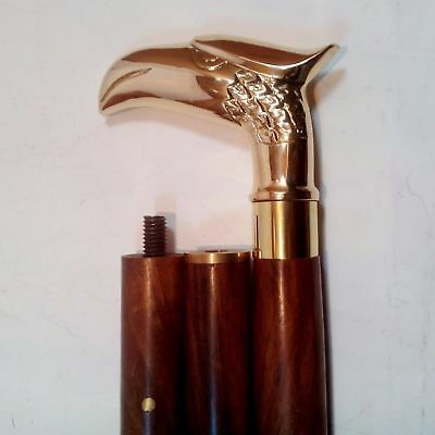 Solid Brass Eagle Handle Victorian Wood Vintage Style Walking Stick Old Cane