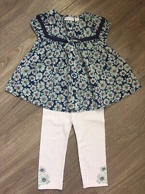 Baby Girls 2 Piece Set Floral Blouse Top & Leggings Size 12 Months.