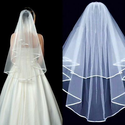 Fashion Simple Cathedral Veil & Comb White Beige Bride Wedding Party Accessories