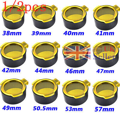 1/2pcs Lens Cap Flip Spring Up Open Covers Yellow See Through For Airsoft Scope