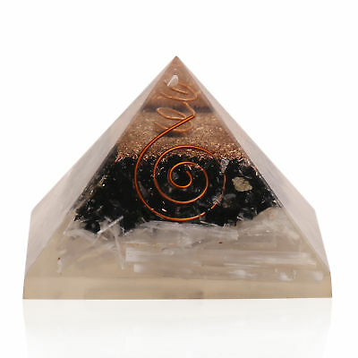 Extra Large Selenite & Tourmaline Stone Orgonite 70-75mm Orgone Gemstone Pyramid