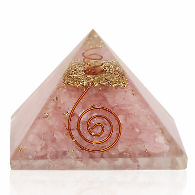 Extra Large Rose Quartz Stone Orgonite 70-75mm Gemstone Pyramid X-large
