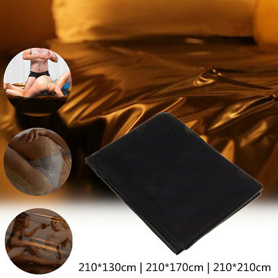 210*130/170/210cm Black PVC Bed Sheet For Adult Games Waterproof Bedding