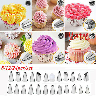 8/12/24 pcs/set Decorative Stainless Steel Icing Piping Nozzles Cake Pastry Tool