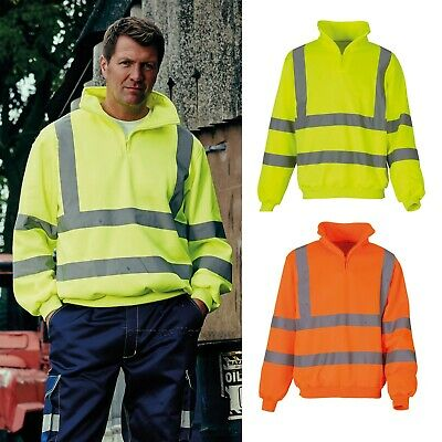 Yoko Hi-Vis 1/4 Quarter Zip Sweatshirt Hi Viz Fleece Jumper Safety Top (HVK06)
