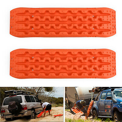 2X Recovery Traction Sand Tracks Snow Mud Track Tire Ladder 4WD Off Road Orange.