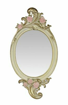 Mirror, Wall Mirror in Baroque Style with Roses and Rocaillien, Gold and Pink