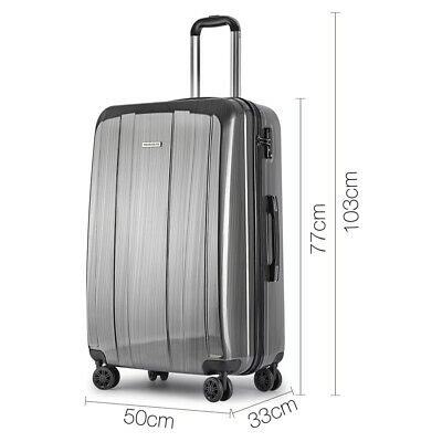 "Wanderlite Lightweight Hard Suit Case Luggage Grey 28""TSA Approved 100Lt"