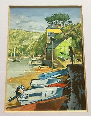 Mall Galleries RS Marine Artists Gouache Painting Bantham Quay Alban Low 2008
