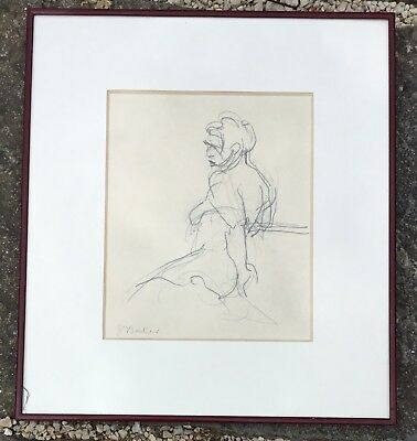 Vintage Contemporary Modern Female Nude Charcoal Sketch Drawing Signed S Baker?