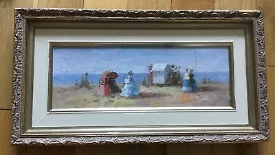 Oil Painting On Board Late 19th Early 20th Century Figures By The Sea Framed