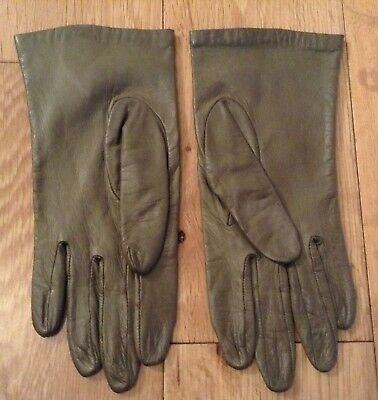 Vintage Olive Green ARIS Soft Leather Silk Lined Gloves Size 7 Small