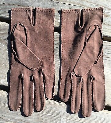 Vintage John Michael Unisex Mens Ladies Chocolate Brown Soft Suede Gloves 7.5