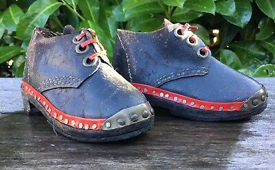 Antique Early 20th Century Leather & Studded Childrens Dolls Shoes Boots Clogs