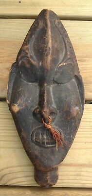 Vintage Antique African Bakongo Congo Carved Wooden Tribal Head Mask Staff Top