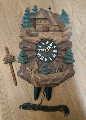Fully Working Hanging Black Forest Chalet Scene Cuckoo Clock