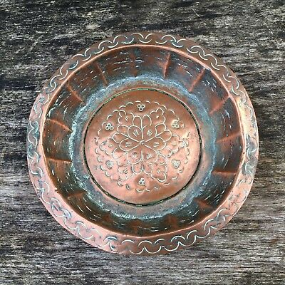 Old Vintage Antique Islamic Middle Eastern Hand Embossed Copper Bowl 2