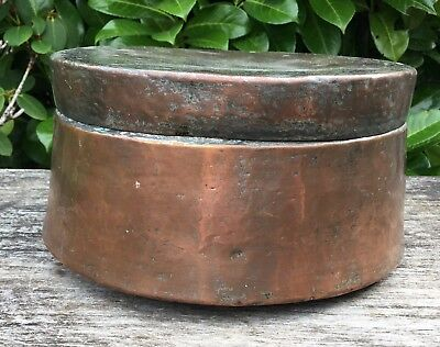 Old Vintage Antique Middle Eastern Tin Lined Hammered Copper Spice Box