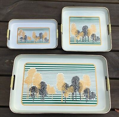Old Vintage Retro MidCentury Modern 3 Piece Japanese Lacquered Tray Set