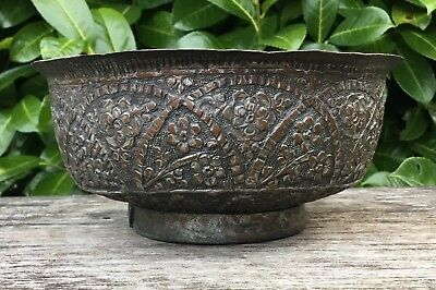 Old Vintage Antique Islamic Middle Eastern Floral Design Tin Copper Footed Bowl