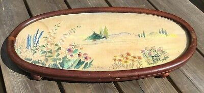 Old Vintage Antique Large Mahogany Wood Tray Stand With Tapestry Insert