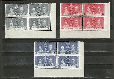 Cyprus - Sg148-150 Mnh 1937 Gvi Coronation Issue - Blocks Of 4