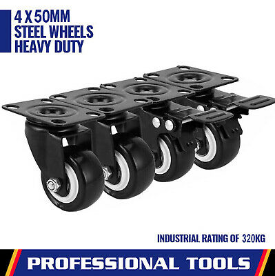 4PCS Heavy Duty Swivel Castor Wheels Trolley 50mm Furniture Casters Rubber Black