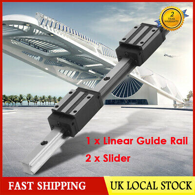 1pc HGR20-300mm Linear Guide Rail + 2pcs Carriages Bearing Block Slider Steel UK