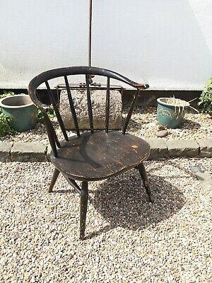 Vintage ERCOL Windsor Elm COWHORN Bow Backed Low Fireside Arm Chair