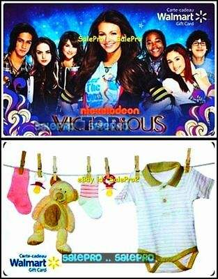 2x WALMART NICKELODEON VICTORIOUS HANGING TEDDY BEAR COLLECTIBLE GIFT CARD LOT