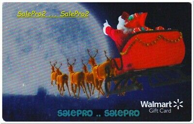 Walmart Christmas Santa Claus Flying Sled Reindeer Foil Collectible Gift Card
