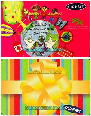 2x OLD NAVY CHRISTMAS YELLOW ROSETT NATION CELEBRATION COLLECTIBLE GIFT CARD LOT