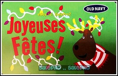 Old Navy Merry Christmas Joyeuses Fetes Happy Reindeer Collectible Gift Card