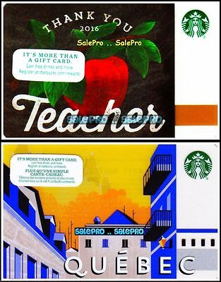2x STARBUCKS QUEBEC US RED APPLE THANK YOU TEACHER DAY COLLECTIBLE GIFT CARD LOT