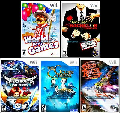 5x NINTENDO WII BACHELOR SPECTROBE GOLDEN COMPASS SPEED RACER 12x PARTY GAME LOT