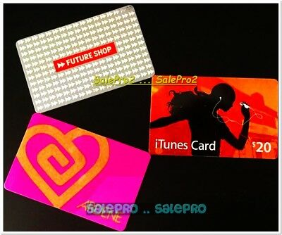 3x ITUNES ARDENE PINK LOVE FUTURE SHOP SILVER PLATINUM COLLECTIBLE GIFT CARD LOT