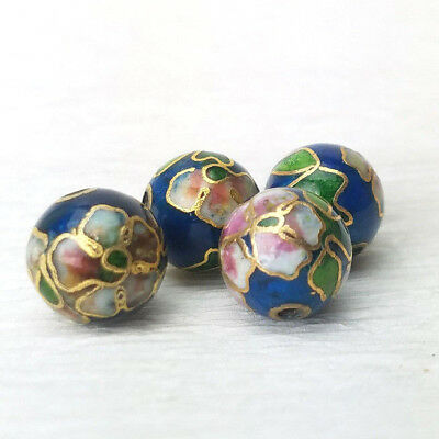 Mint Green Pink Flowers Cloisonne Chinese Enamel 12mm Round 4 Beads