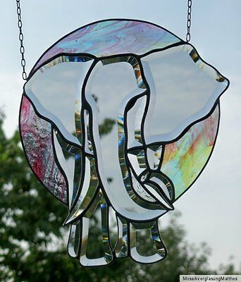 "Bleiverglasung Fensterbild / Suncatcher ""Elefant in Morgenröte""  in Tiffany"