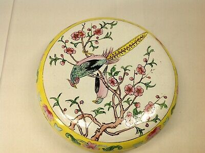 20th Chinese Bronze Painted Enamel Box And Cover