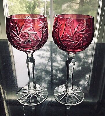Pair Of Bohemian Cranberry Cut To Clear Wine Hock Goblets Etched Star Design Other Bohemian/czech Art Glass