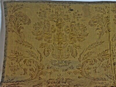 ANTIQUE 19th C. FRENCH GOLD METALLIC BROCADE FABRIC UU581