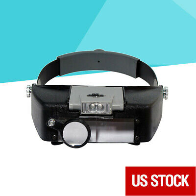Jewelers Head Headband LED Magnifier Magnifying Glasses Light Visor Loupe NEW
