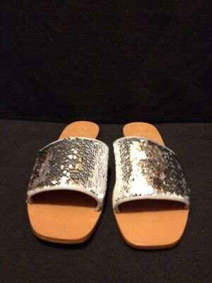 0beb1759c New Tory Burch Carter Slide Reversible Sequin Silver & White Sandals Size  ...