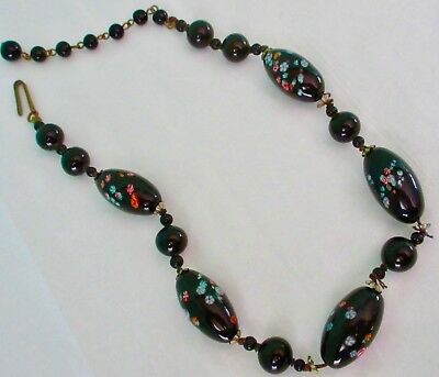 Murano Art Glass Antique Hand Blown Black with Colorful Specks Beads Necklace