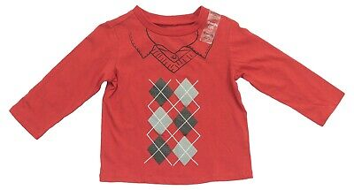 First Impressions Size 18 Months Baby Boys Red Argyle Long Sleeve Top Shirt