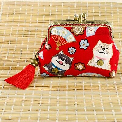 Handmade Twin Compartment Japanese Shiba Inu Dogs Coin Purse Collectable #0171