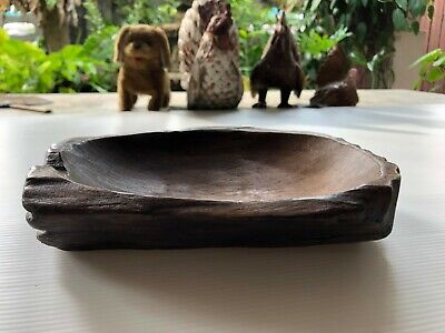Black Bear Paw Wood Carving Candy Dish Rustic Cabin Decor