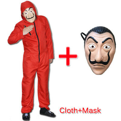 FR Salvador Dali La Casa De Papel Money Heist Red Jumpsuit Mask Costume Cosplay
