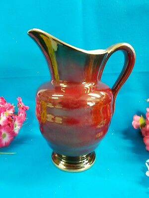 LOVELY BURGUNDY / GOLD TRIMS CROWN DEVON JUG - ENGLAND 17 1/2 cm H - EX COND